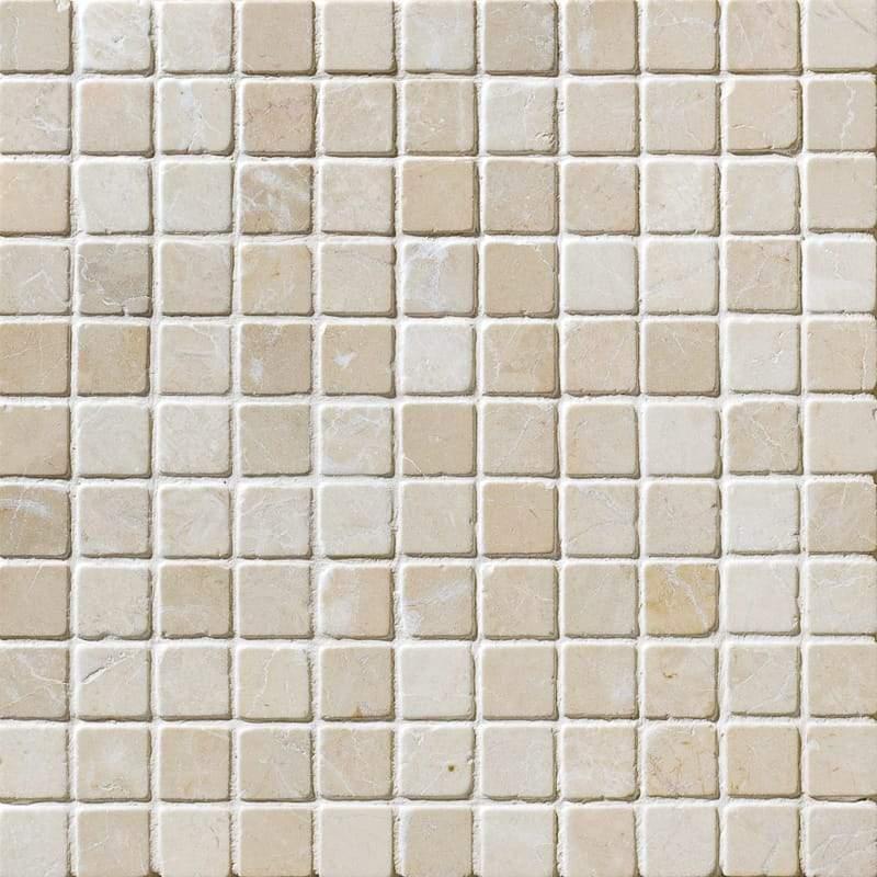 Marble Botticino Turkish 1x1 Square Tumbled   Mosaic (Discontinued)