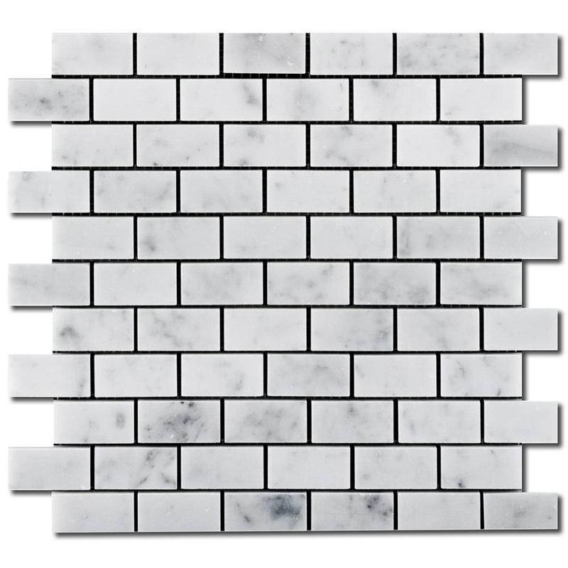 Carrara White 1x2 Brick Honed Marble  Mosaic