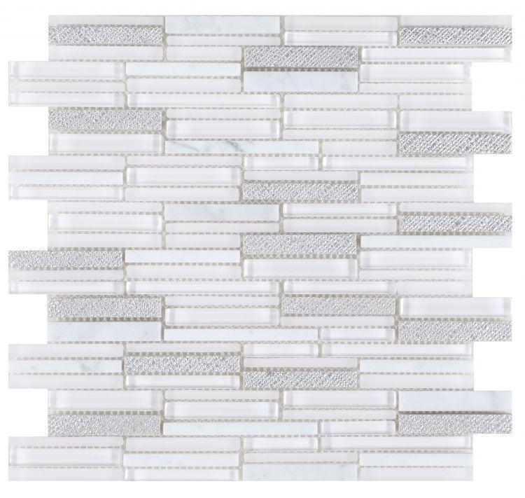 Linear Glass Inga White Mosaic