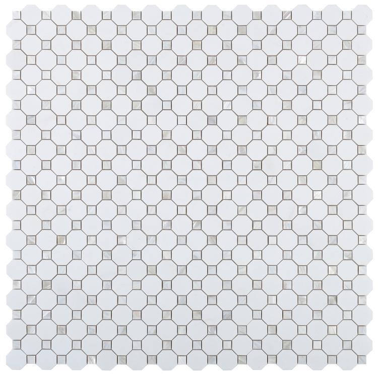 Diana Octagon Thassos Pearl  Mosaic