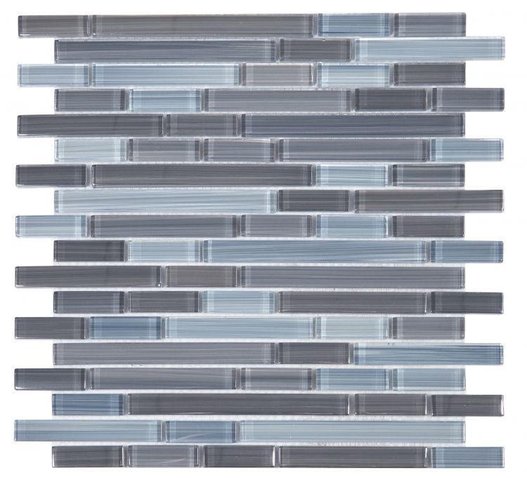 Linear Glass Rain Grey Glossy   Mosaic