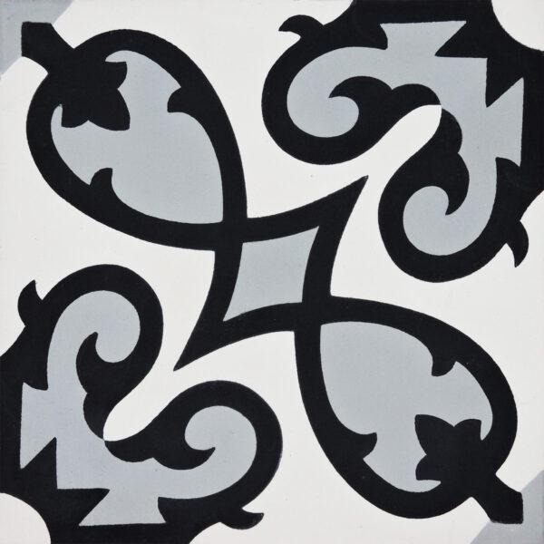 Agadir Black White Gray 8x8, Unpolished, Square, Cement, Tile