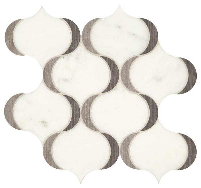 Castellina White And Midnight Gray Polished, Arabesque, Mixed, Mosaic
