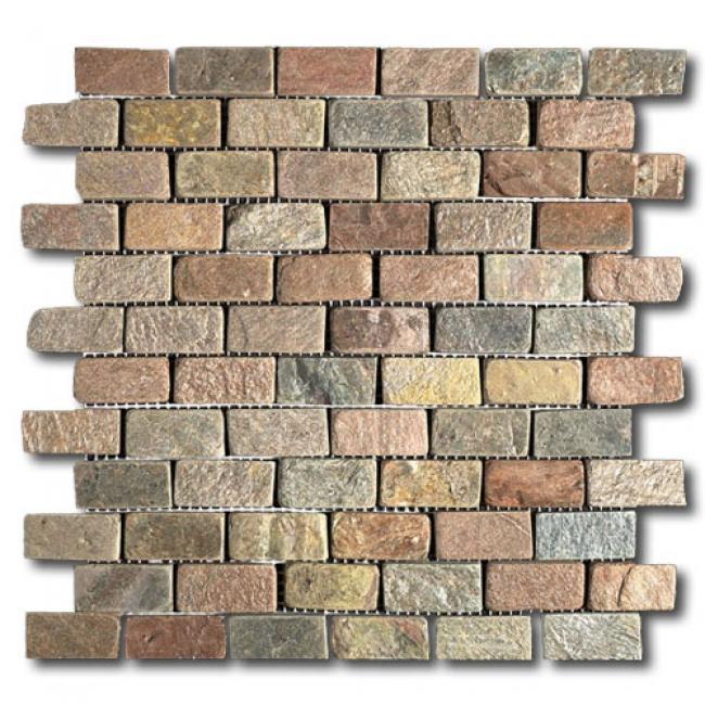Slate Copper 1x2 Tumbled   Mosaic