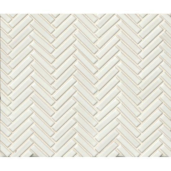 90 White 0.5x2 Herringbone Glossy Porcelain  Mosaic