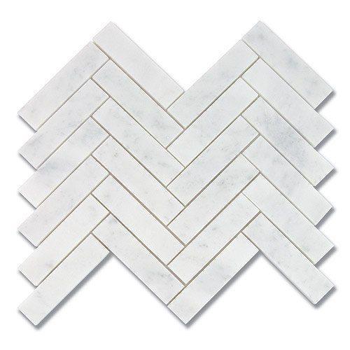 Marble White Carrara 1x4 Herringbone Polished   Mosaic