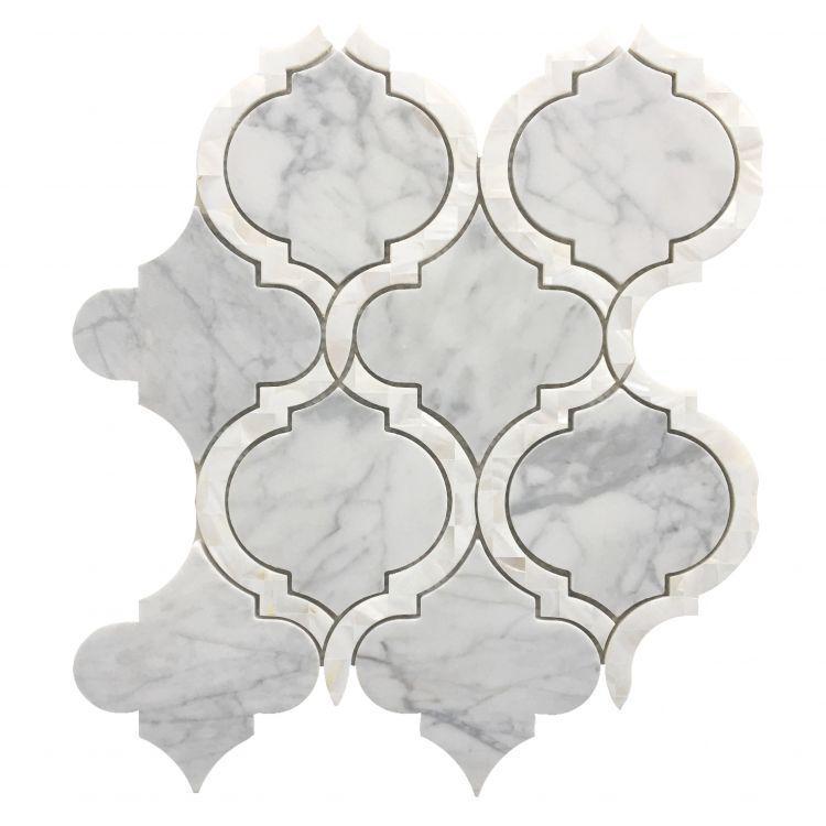 Alice Pearl Statuario Arabesque Polished   Mosaic