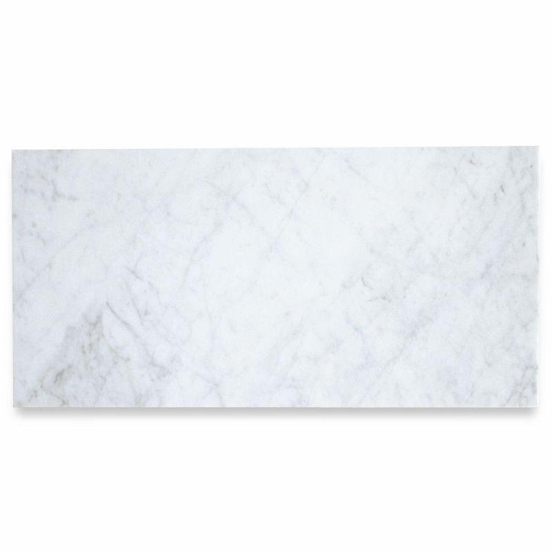 White Carrara Marble Tile 3x6 Honed