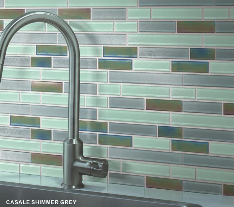 Casale Shimmer Grey Subway Glossy Glass  Mosaic