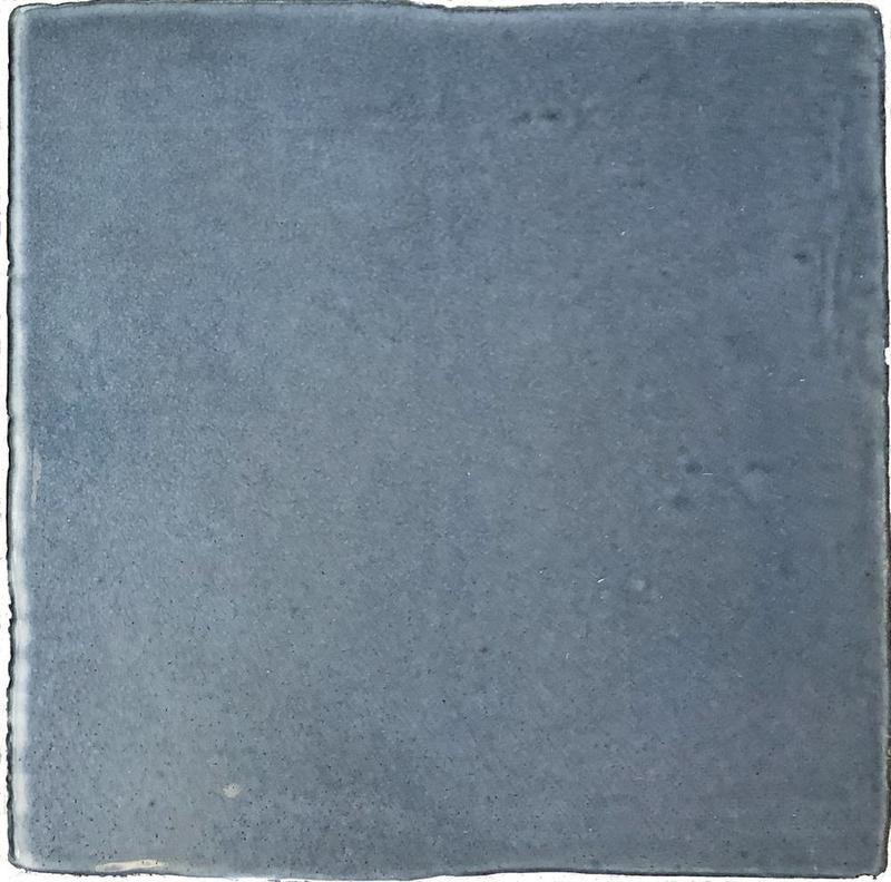 Vintage Ocean Blue Glossy, Glazed 5x5 Ceramic  Tile