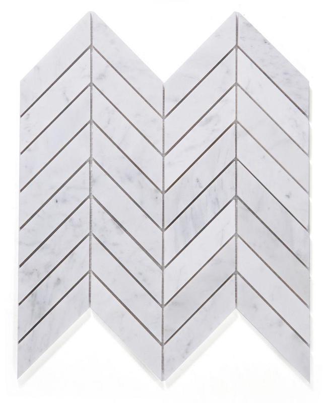 Chevron Herringbone White Carrara Honed Marble  Mosaic
