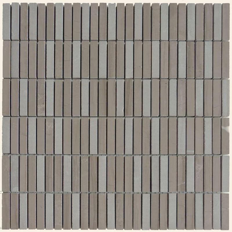 Athens Grey Matchstick Honed, Textured Marble  Mosaic