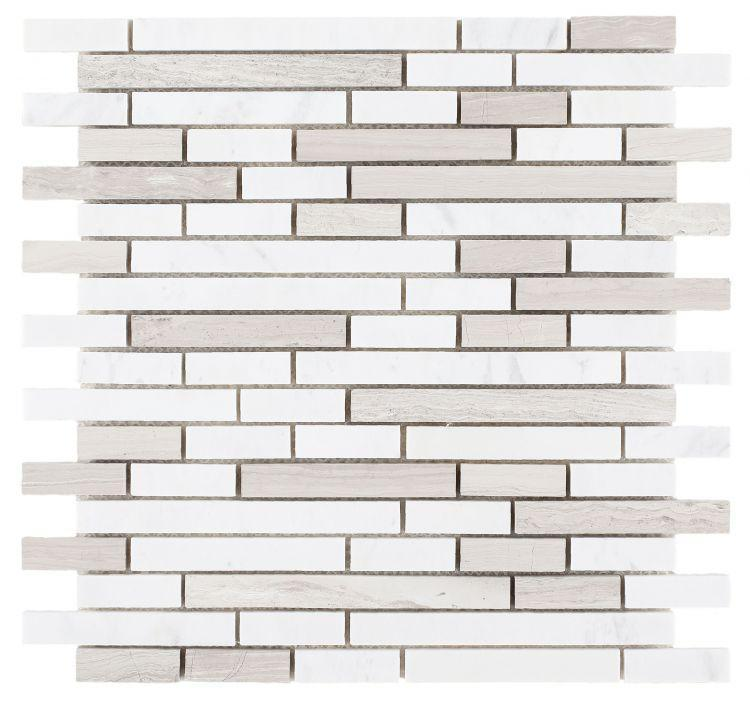 Precious Stone Haisa Grey Stack Linear Honed Marble  Mosaic