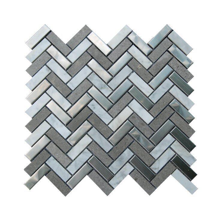 Stainless Steel Mosaic Carrara White Gray Marble 5/8x2 Herringbone