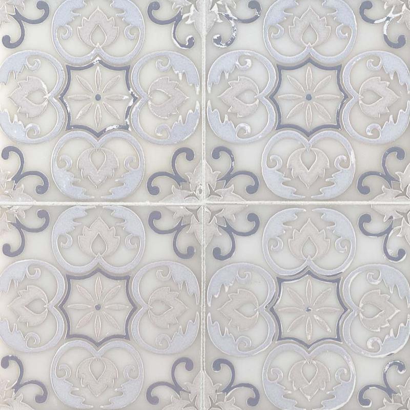 Backsplash Wall Tile Decorative Mosaics Tetris Florita Blanco 6x6, Polished, White, Marble
