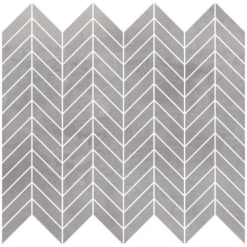 Metal Max Moderne Medium Grey 1x4 Chevron Matte Porcelain  Mosaic