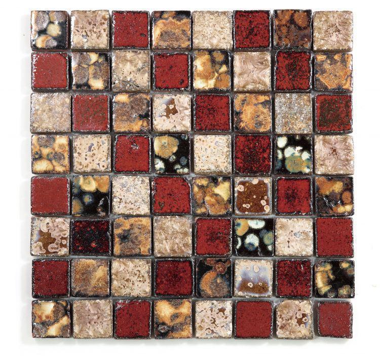 Roman Tropical Flower 1.5x1.5 Square  Porcelain  Mosaic