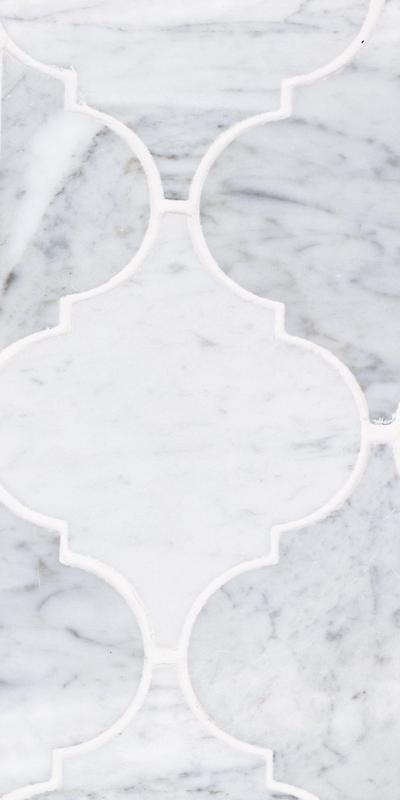 Sto Re Carrara 5x4-1/2 Arabesque Polished Natural Stone  Mosaic