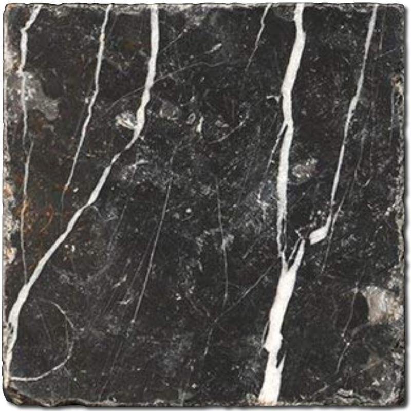 Nero Marquina Marble Tile 4x4 Tumbled
