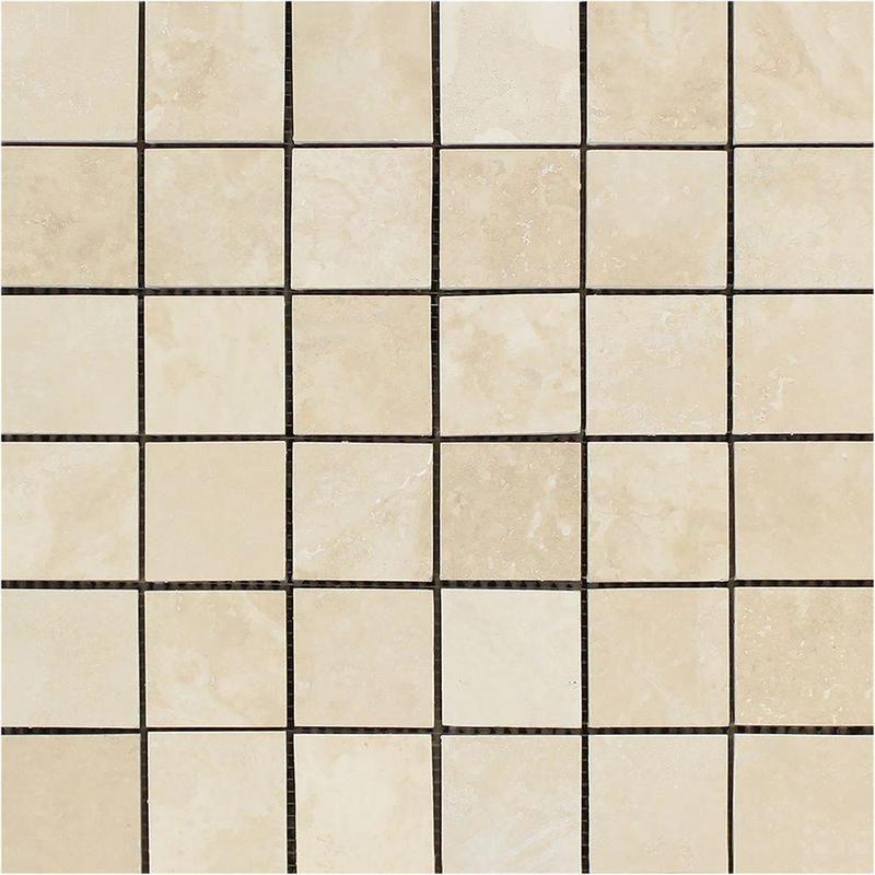 Ivory Premium 2x2 Square Honed Travertine  Mosaic (Discontinued)
