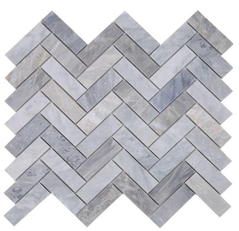 Chevron Herringbone Italian Grey Honed Marble  Mosaic
