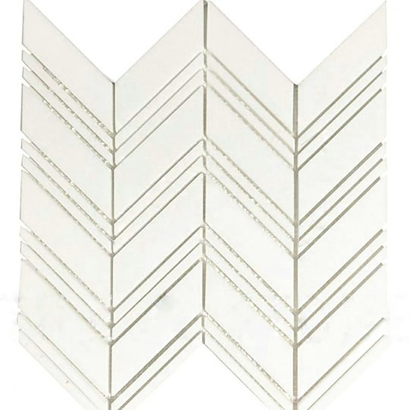 Thassos White Large Chevron W/ Thassos White Polished Marble  Mosaic