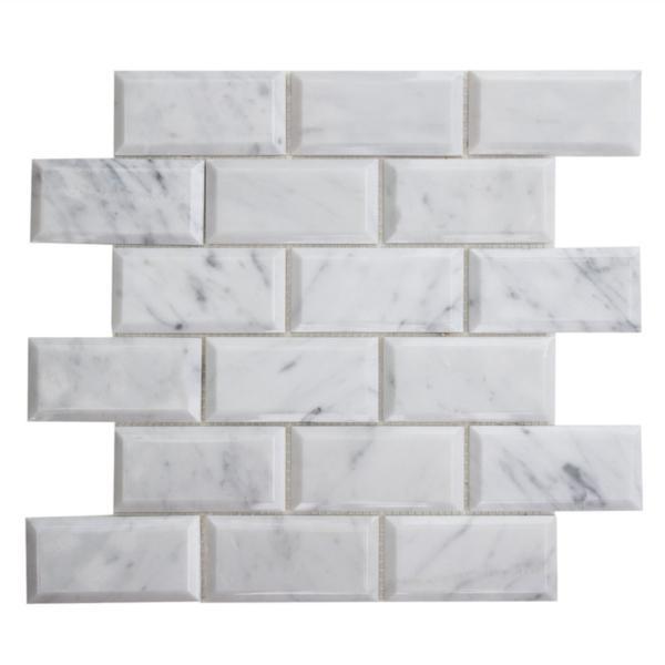 Marble White Carrara 2x4 Brick Polished   Mosaic