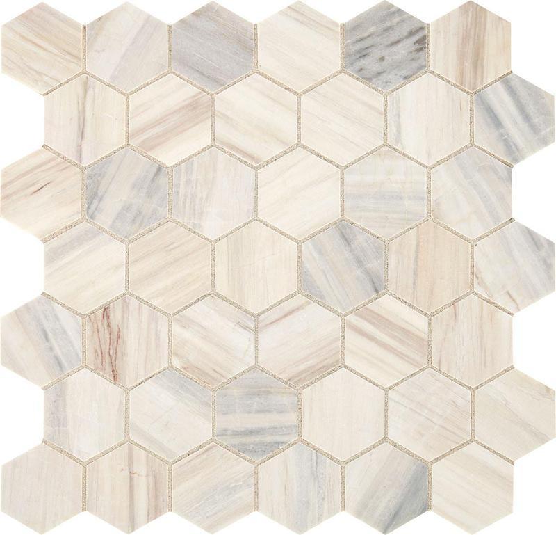 Fonte Pier White M013-gris Nautique 2x2, Honed, Hexagon, Natural-Stone, Mosaic