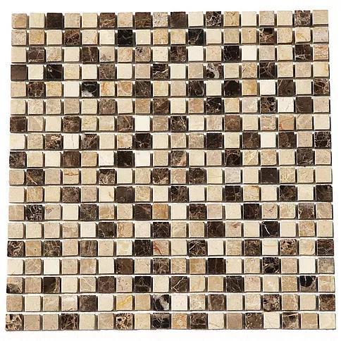 Stone Mosaic Emperador Dark Light Crema Marfil 5/8x5/8 Brick  Marble