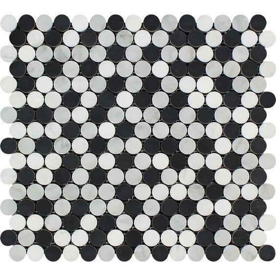 Marble White Carrara W Black Thassos Pennyround Honed   Mosaic
