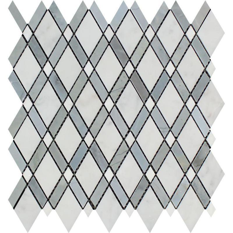 Marble Oriental White Lattice W Grey Thassos Lattice Weave Honed   Mosaic
