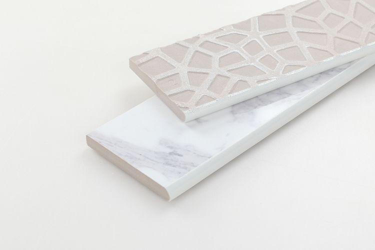 Carrara Premium Glazed, Polished, r9 3x12 Porcelain Bullnose