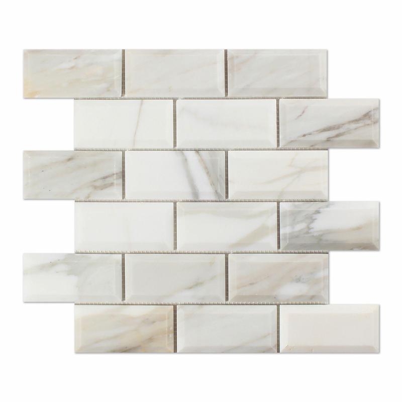 Calacatta Gold 2x4 Brick Polished Marble  Mosaic