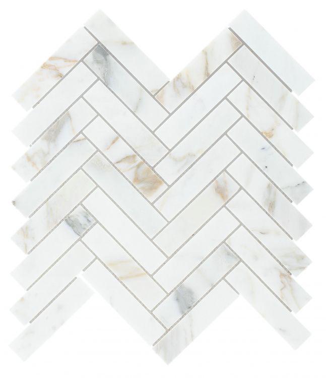 Chevron Herringbone Calacatta Gold Polished Marble  Mosaic