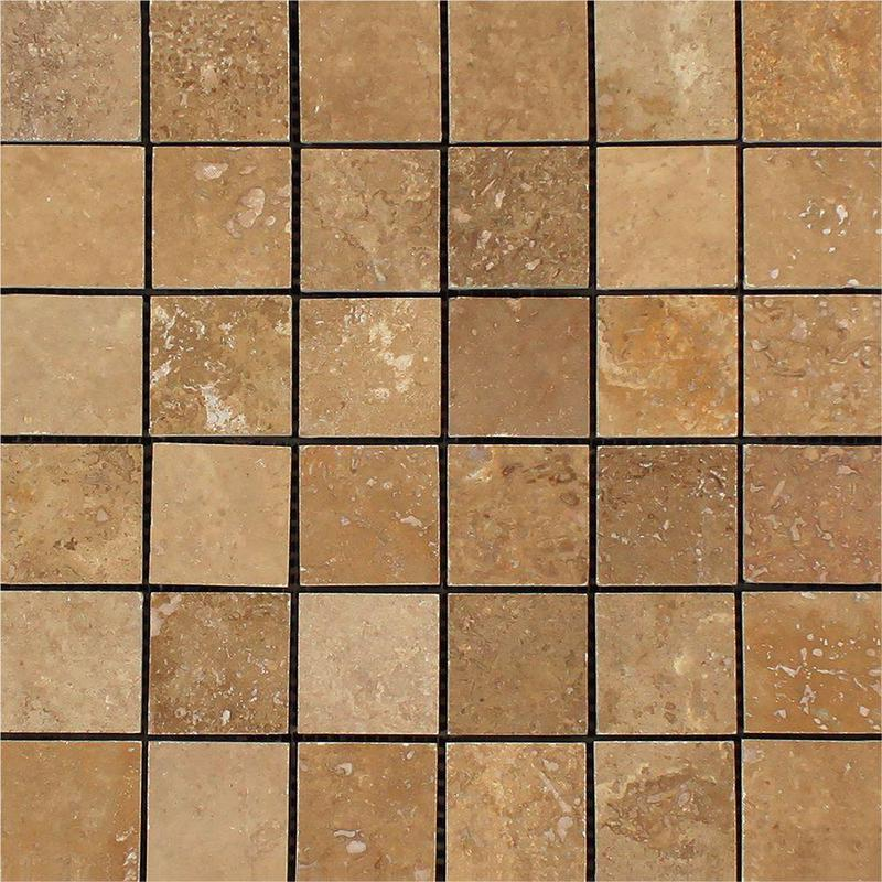 Noce 2x2 Square Honed Travertine  Mosaic (Discontinued)