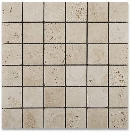 Ivory Premium 2x2 Square Tumbled Travertine  Mosaic