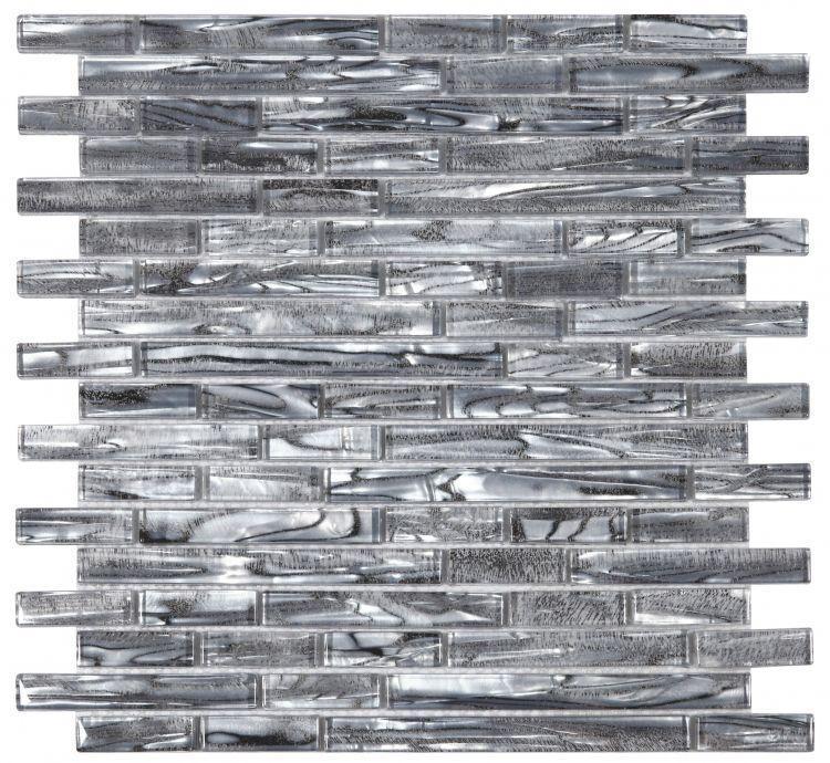 Shell Silver Linear Glossy Glass  Mosaic