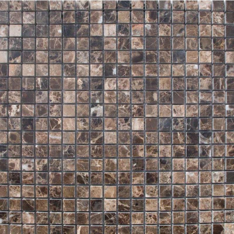Emperador Dark 5/8x5/8 Square Tumbled Marble  Mosaic