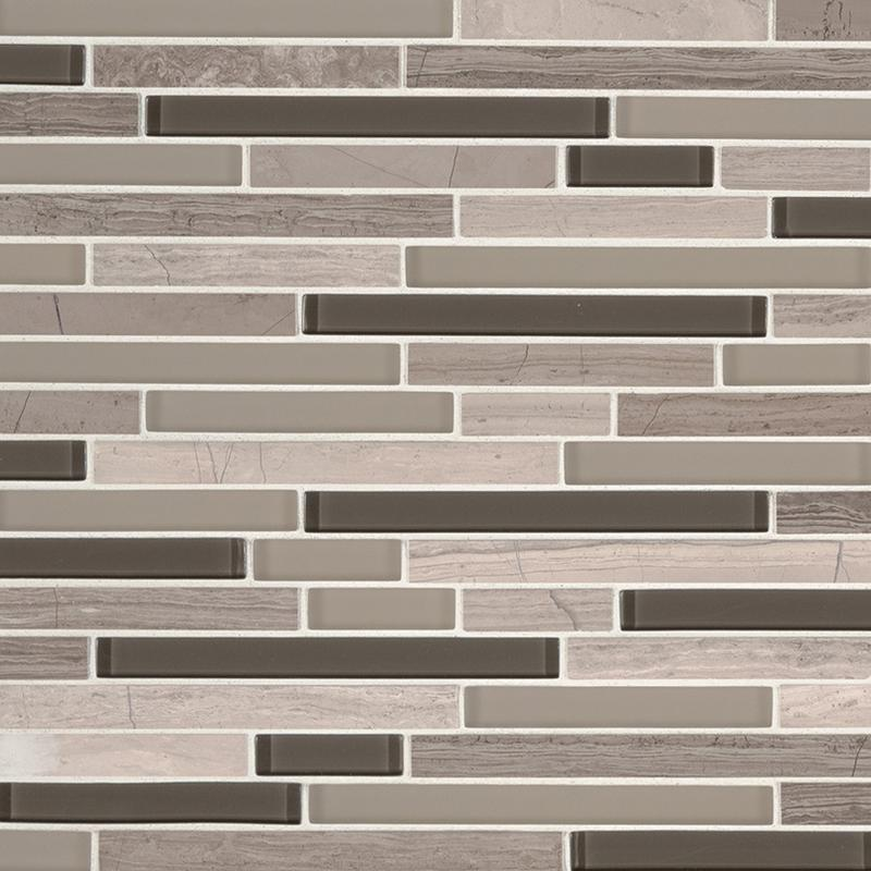Backsplash Wall Tile Decorative Mosaics Modello Grigio Glass, Light Grey, Interlocking, Mosaic