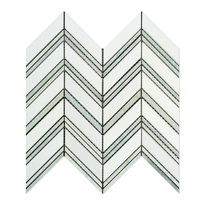 Marble Thassos White Chevron Mix W Thin Ming Green Large Polished   Mosaic