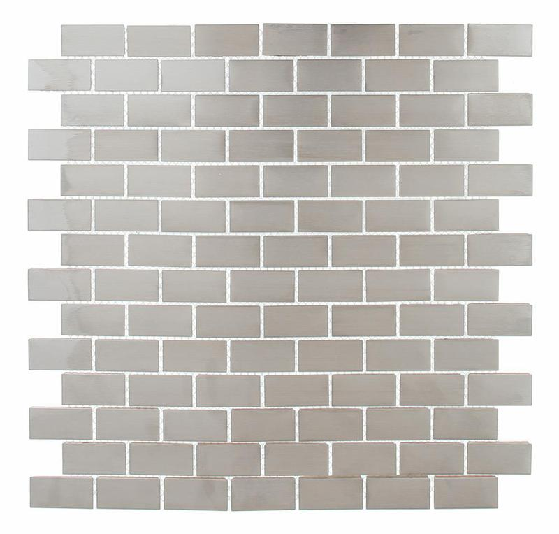 Steel 0.75x1.5 Subway Brushed Stainless Steel  Mosaic