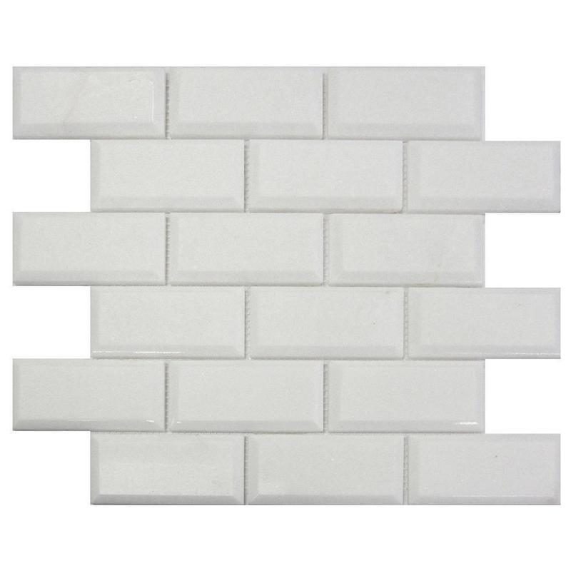 Marble Thassos White 2x4 Brick Honed   Mosaic