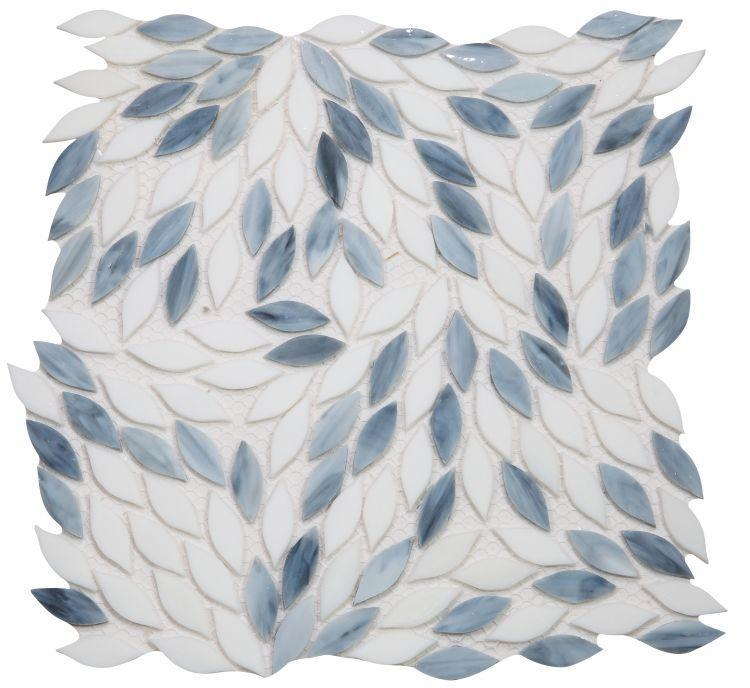 Newport Grey Leaf  Glass  Mosaic
