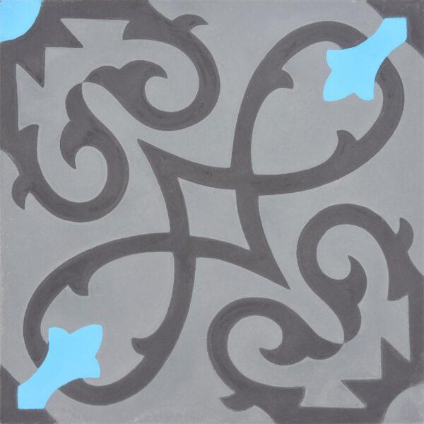 Agadir Gray Blue Black 8x8, Unpolished, Square, Cement, Tile