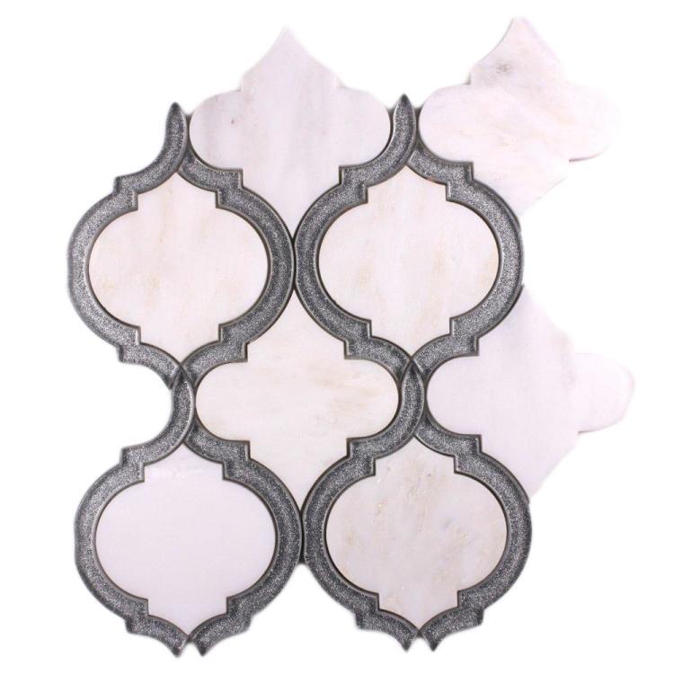 Elysium Tiles - Alice Silver White Arabesque Glass   Mosaic