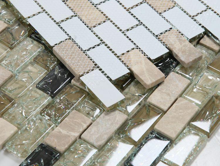 Icy Grey 1x2 Brick  Glass  Mosaic