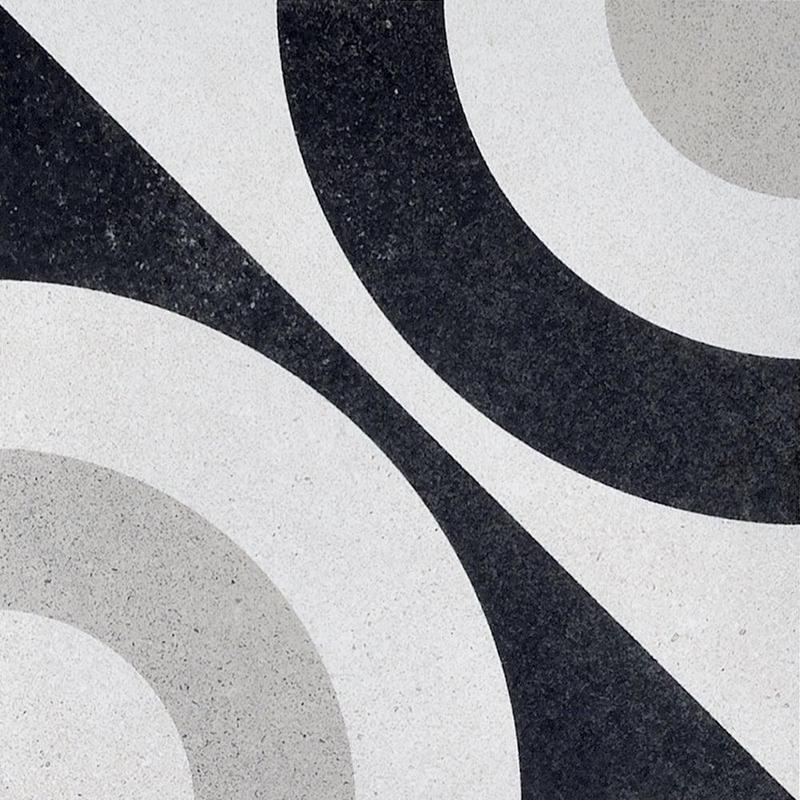 Cementine Black And White B W 5 8x8, Glazed, Porcelain, Tile
