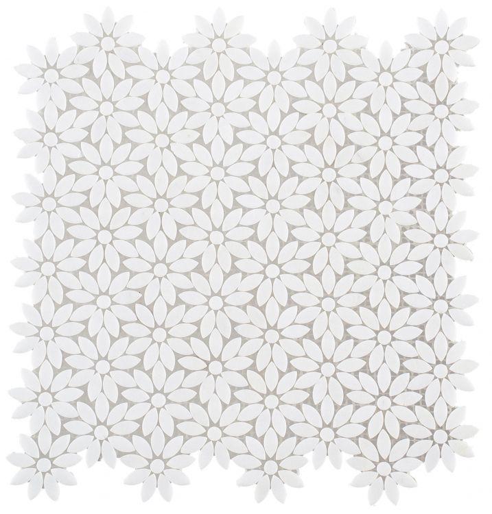 Daisy Wild Thassos Flower  Marble  Mosaic