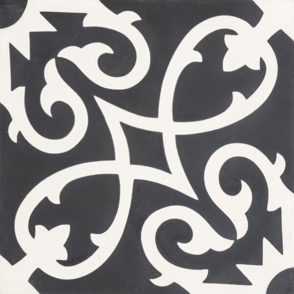 Agadir Black White 8x8, Unpolished, Square, Cement, Tile