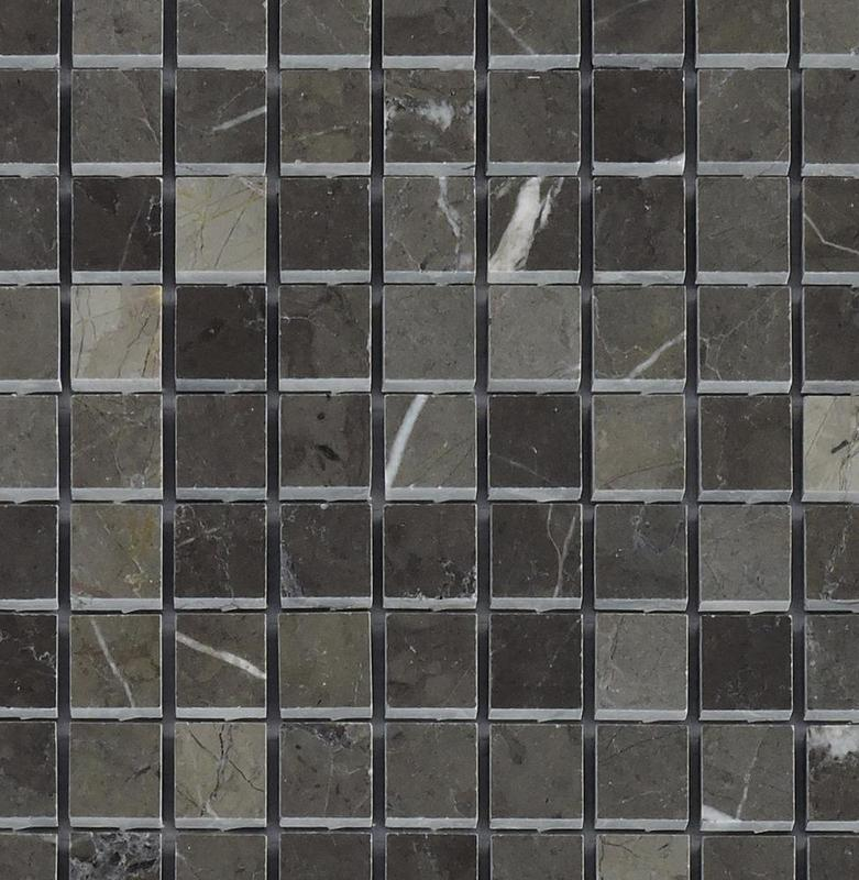 Marble Gris Marquina Graphite 1x1 Square Honed   Mosaic